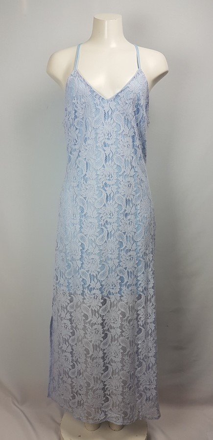 Available by Angela Fashion Baby Blue Lace Dress Size L
