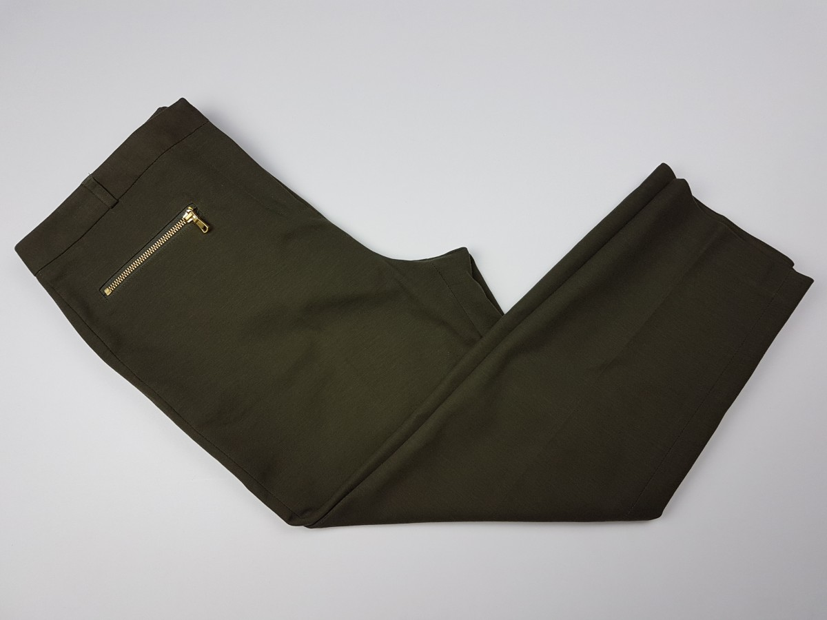 Peter Nygard Petite Olive Green Pants With Zippered Pockets Size 10