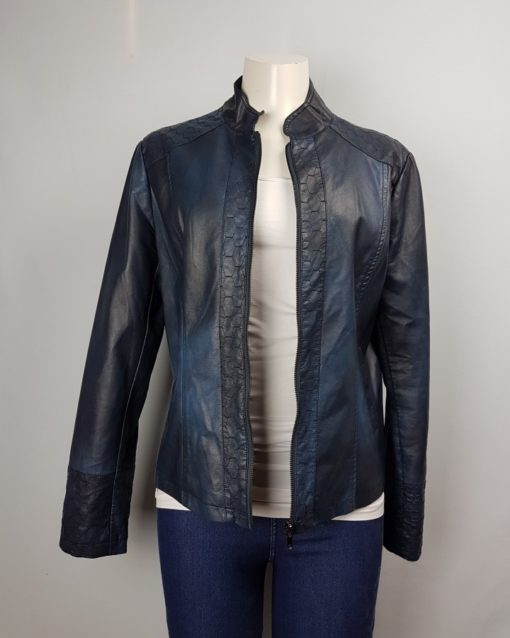 Ness Blue Leather Jacket With Zipper Size L
