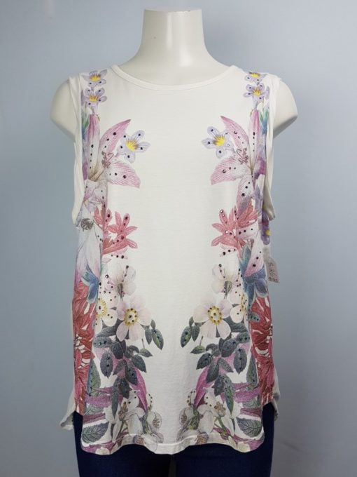 Guess White Floral Sleeveless Top Size L