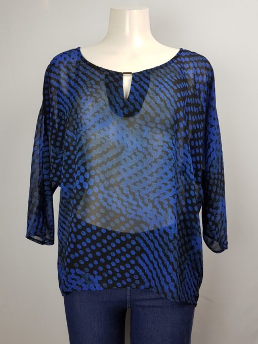 Blue Printed Transparent 3/4 Sleeve Top Size L