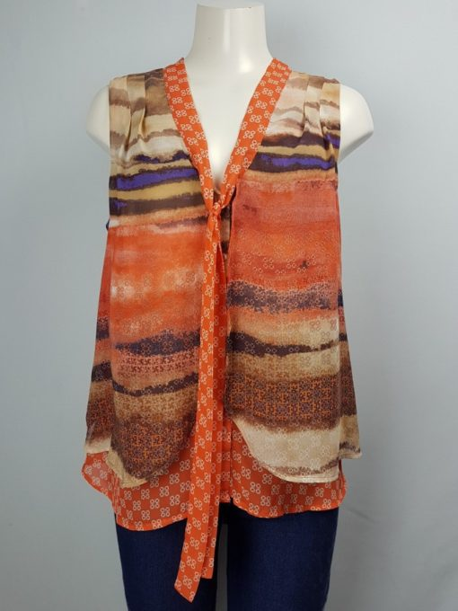 Tru Self Multi-Color Sleeveless With Tie Knot Size L