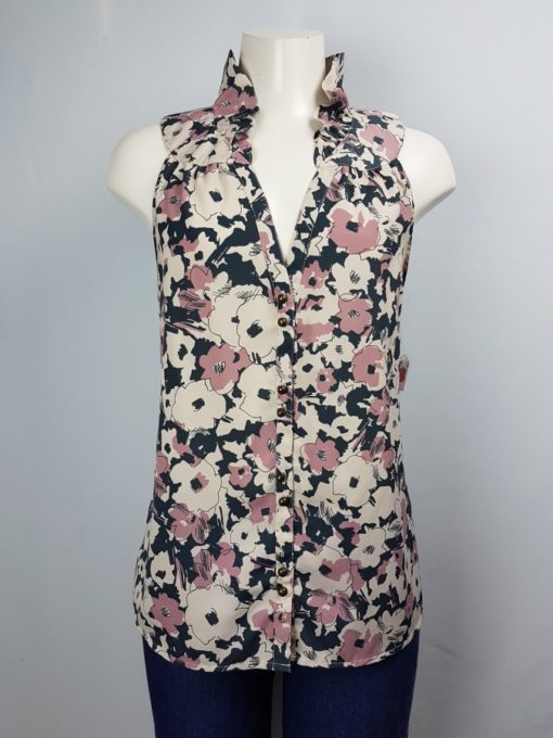 Floral V-Neck Sleeveless Button Top Size M