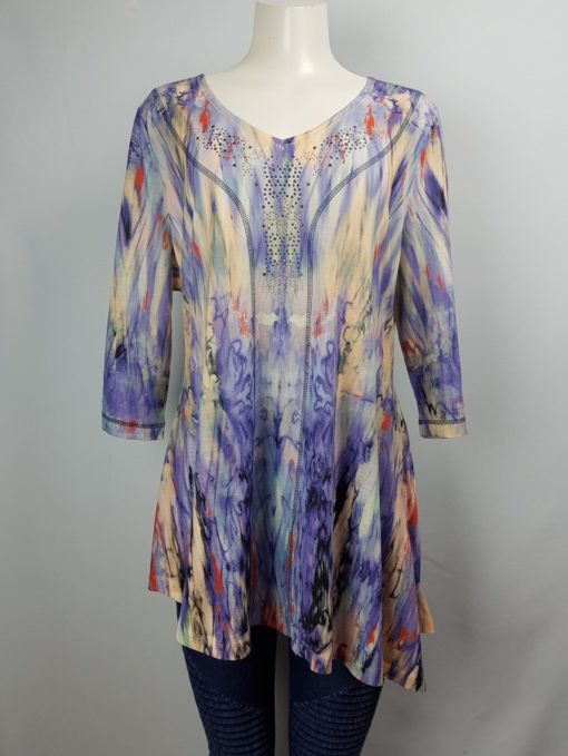 One World Printed V-Neck 3/4 Sleeve Top Size 1X