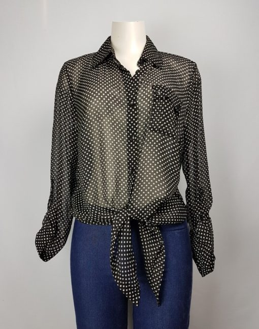 Cleo Petites Black Polka Dots Tie-Knot Long Sleeves Polo Size XL
