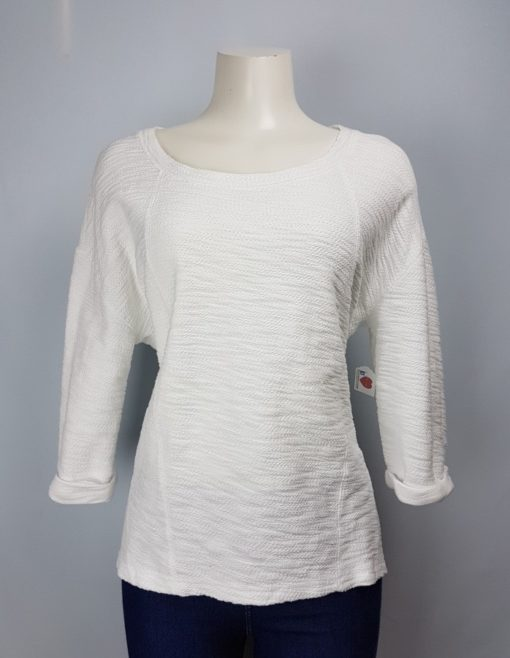 Marc New York White Scoop Neck 3/4 Sleeve Top Size L