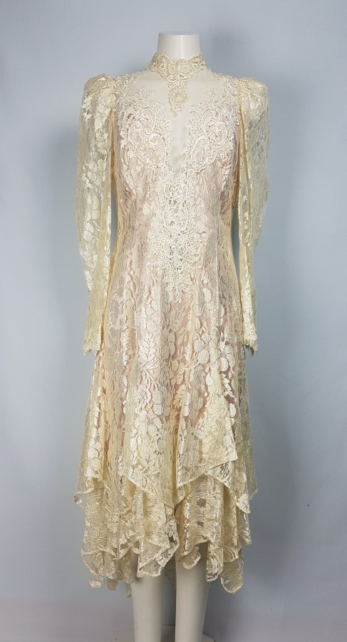 French Lace Light Gold Long Sleeves Dress Size M