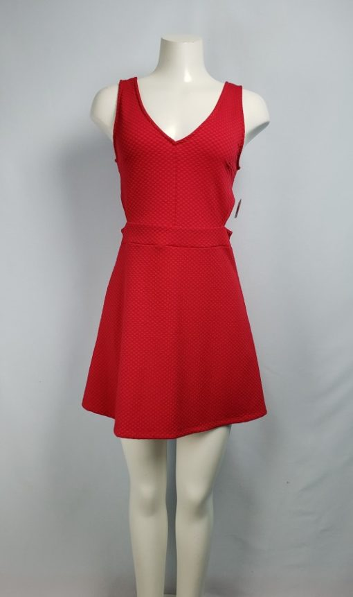 Divided by H & M Red A-Line V-Neck Dress Size M