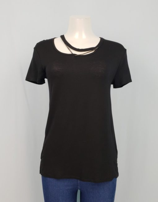 Highline Black With Strap Detail Neckline Top Size XS
