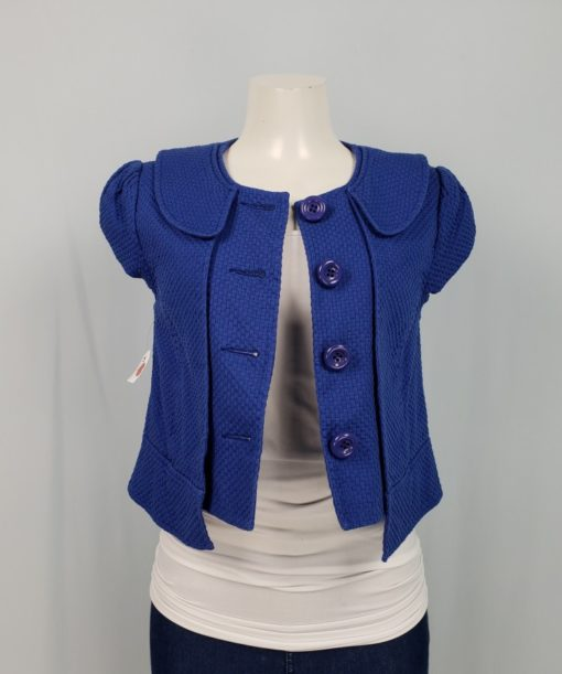 Blue Bolero With Button and Collar Size M