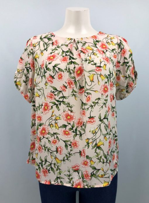 Monteau Boat-Neck Printed Top Size L