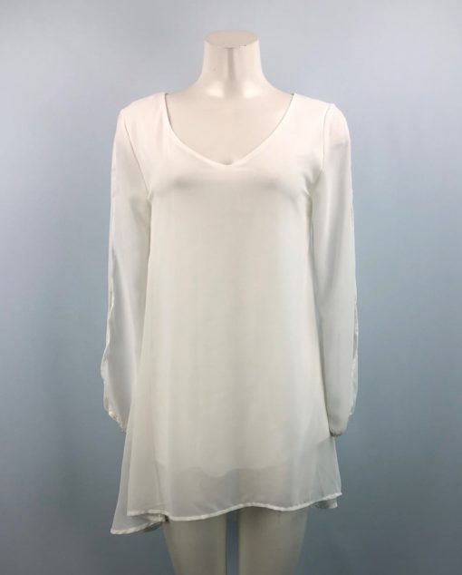 White Long Sleeves Transparent-Detail Dress Size M