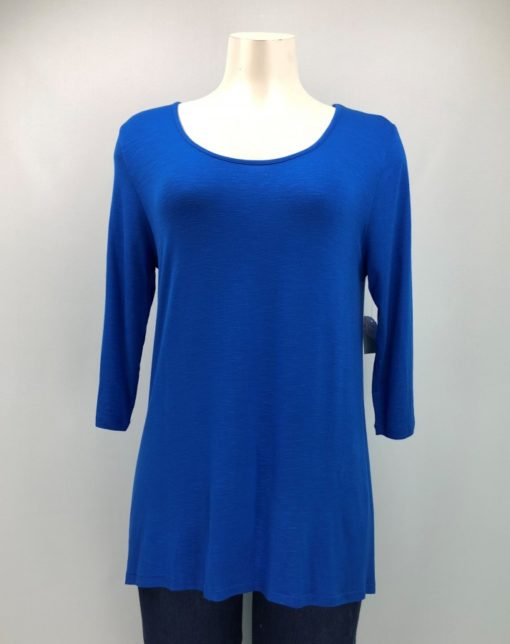 Suzanne's Blue Scoop-Neck 3/4 Sleeve Top Size S