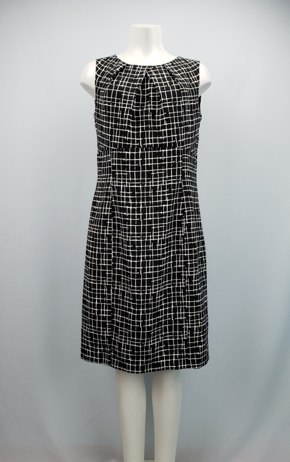 Periphery Black & White Boat-Neck Shift Dress Size XL