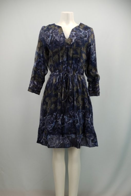 Dotty Printed V-Neck Long Sleeves Flared Dress Size M