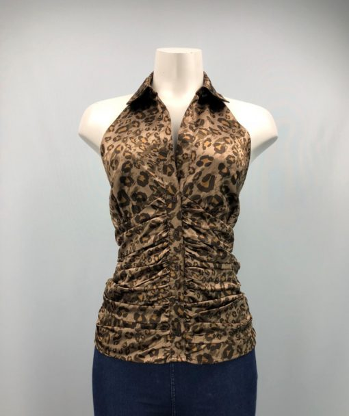 Guess Jeans Brown Printed Button Sleeveless Collared Top Size L