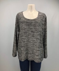 Jeans by Buffalo Grey Scoop-Neck Long Sleeves Top Size XL