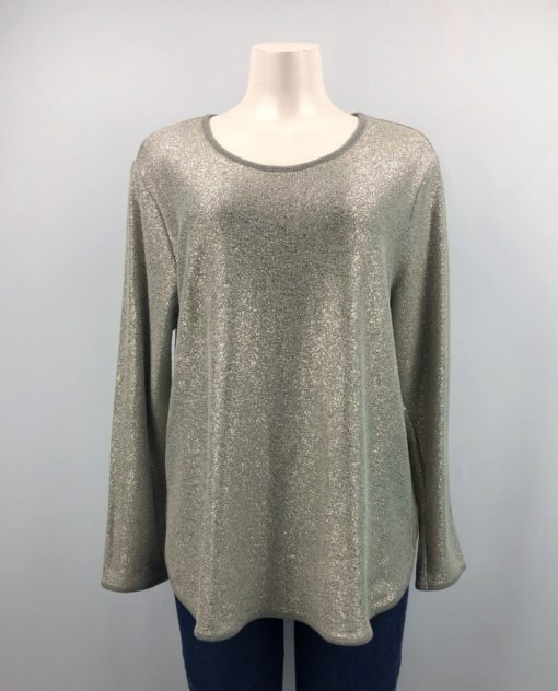 Style & Co. Grey Sparkling Long Sleeves Top Size L