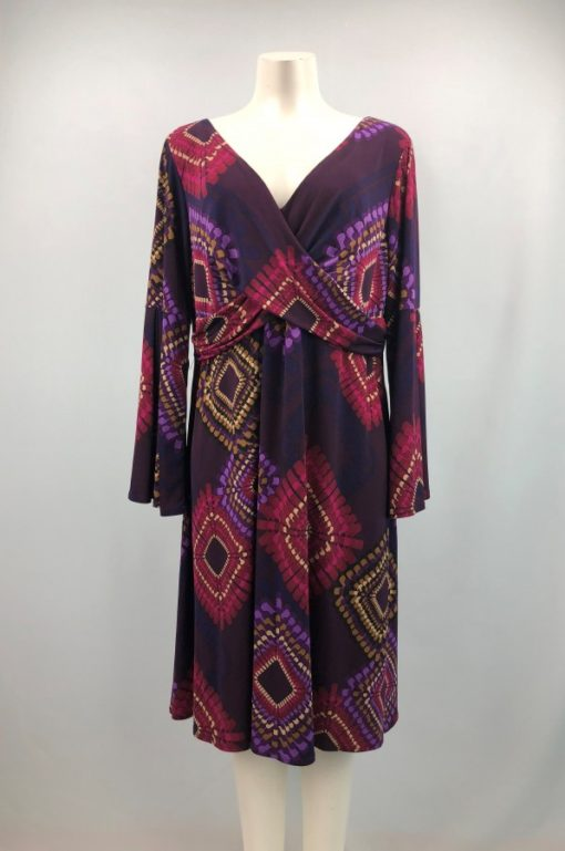 Laura Plus Printed Deep V-Neck Long Sleeves Dress Size XL